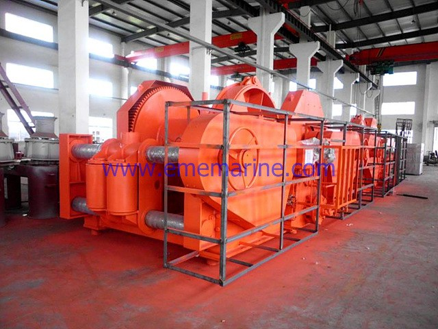 68T Hydraulic double drums mooring winch